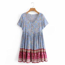 Printing V-neck Short-sleeved Rayon Dress NSAM39302