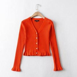 V-neck Lace Slim-fit Short Long-sleeved Base Knitted Cardigan  NSAM39304