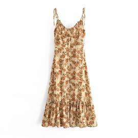 Retro Printed V-Neck Sling Dress  NSAM39306