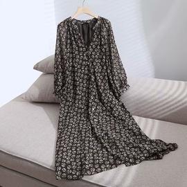 V-neck Single-breasted Flower Printing Long-sleeved Dress NSAM39307