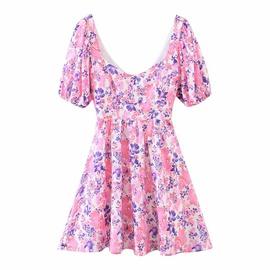 Print Back Lace Lantern Sleeve Dress  NSAM39309