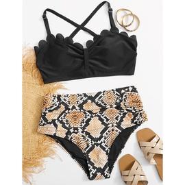 New Large Size Split Printed Bikini Set NSHL39326