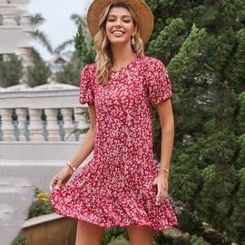 Print Pleated Short-sleeved Round Neck Dress NSDF39334