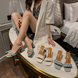 New Braided Thick Heel Sandals  NSHU39348