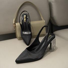 New Style Rhinestone Tassel Black Sexy High Heel Sandals NSHU39354