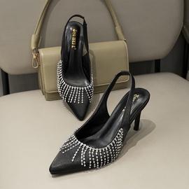 Rhinestone Tassels Stiletto Black Sandals  NSHU39355