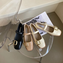 Spring New Thick-heeled Flat Shoes NSHU39359