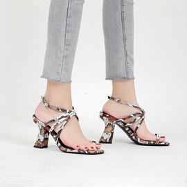 New Style Square Snake Print High-heeled Sandals  NSSO39379
