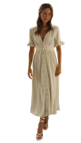 V-neck Short-sleeved Buttoned Cotton And Linen Long Dress NSYD39385