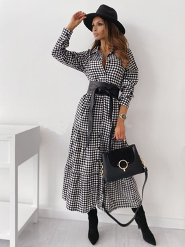 Long-sleeved Plaid Belt Waist Dress NSYD39386