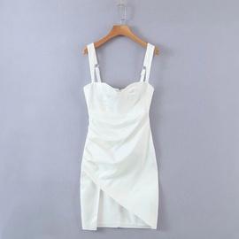 Slim Fold Irregular Suspender Dress  NSAC39404