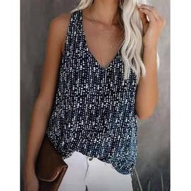 Fashion Printing Loose V-neck Vest  NSLZ39433