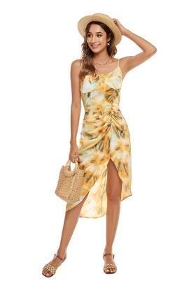 Sling Tie-dye Irregular Pleated Dress NSCX39437
