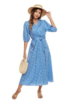 Wave Dot Puff Sleeve Dress NSCX39439