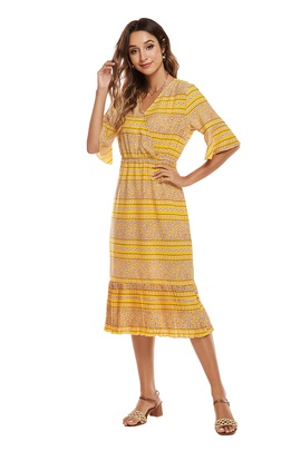 Floral V-neck Chiffon Short-sleeved Dress NSCX39441