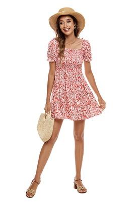 Printing Square Collar Short Sleeve Dress NSCX39444
