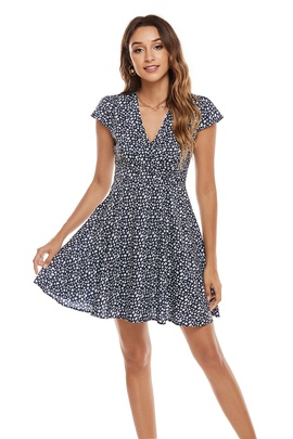 V-neck High Waist Floral Print Dress NSCX39443