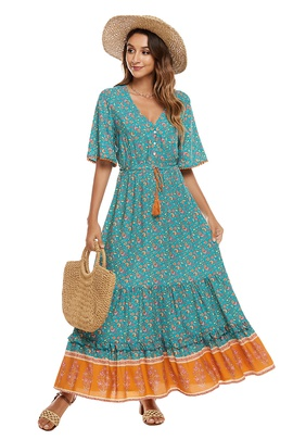 Cotton Printed Holiday Dress NSCX39446