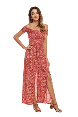 Wrapped Chest Printed Split Short-sleeved Dress NSCX39448