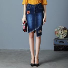 Embroidered Mid-length Denim Skirt  NSDT39451