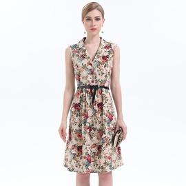 Printed Suit Collar Sleeveless Dress NSJR39457