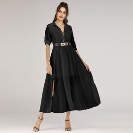 Long Chiffon Fake Two-piece Big Swing Lapel Sleeve Dress  NSJR39458