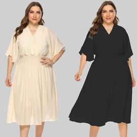 Solid Color V-neck Waist Flying Sleeve Dress  NSJR39459