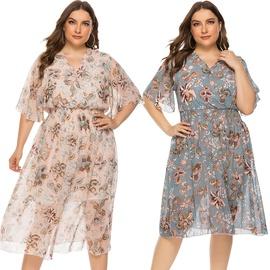Plus Size Fashion Printed Mesh Stitching Flying Sleeve Dress  NSJR39460