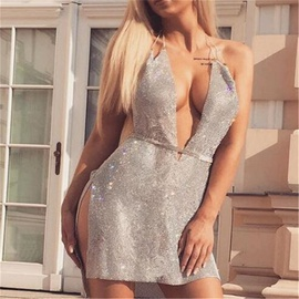 Sexy Sling Diamond Metal Dress NSXYA39497