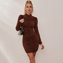 Long Sleeve Slim Pleated Solid Color Dress NSXYA39531