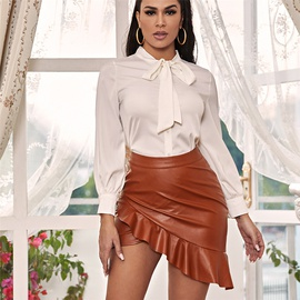 PU Leather Ruffled Irregular Leather Short Skirt  NSXYA39534