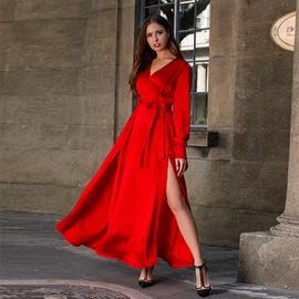 Solid Color V-neck Stitching Long Dress NSSE39551