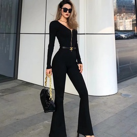 Sexy Front Zipper V-neck Knit Micro-flap Jumpsuit NSAC39579