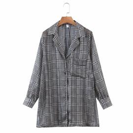 Houndstooth Long Loose Shirt Jacket  NSAM39589
