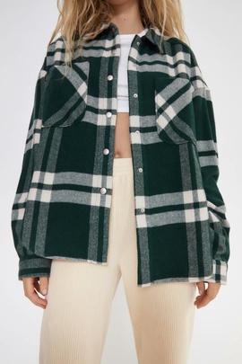 Lapel Pocket Long Sleeve Plaid Shirt Jacket  NSAM39593