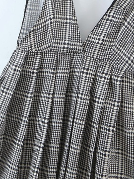 Houndstooth Check Strap Pleated Short Dress NSAM39603