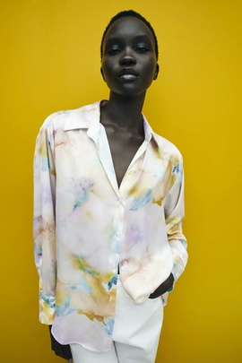 Loose Long-sleeved Tie-dye Draped Shirt NSAM39605
