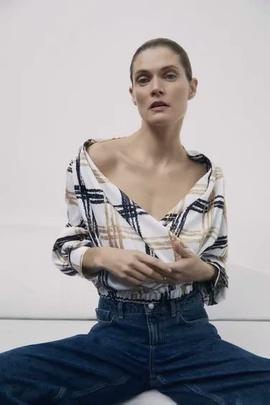 V-neck Plaid Slim Long-sleeved High-waist Top NSAM39607