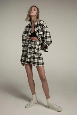 Fashion Loose Pocket Plaid Shirt Jacket NSAM39617