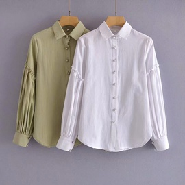 Button Decoration Puff Sleeve Ruffle Stitching Shirt  NSAM39618