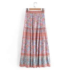Rayon Watermark Printing Elastic Waist Big Hem Skirt  NSAM39619