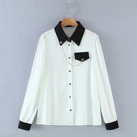 Chain Decoration Color Matching Shirt  NSAM39625