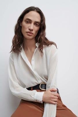 Metallic Color Line Semi-permeable Striped Shirt  NSAM39649