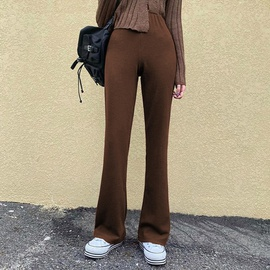 New Style Brown High-waist Thin Knit Drape Solid Color Casual Pants  NSLQ39651