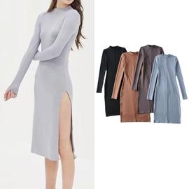 Stretch High Waist Split Long-sleeved Dress  NSLD39663