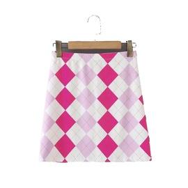 Stretch Slim Contrast Color Plaid Skirt  NSLD39674