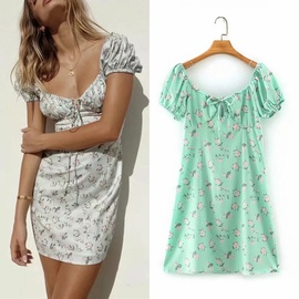 Retro Printed High-waisted Strapped Dress  NSLD39676