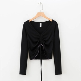 New Casual Simple V-neck Top NSLD39681