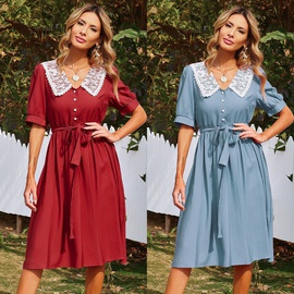 Solid Color Short-sleeved Elastic Waist Midi Dress NSAL39719