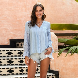 Hollow Embroidery Long-sleeved Breasted V-neck Loose  Blouse  NSSI39726